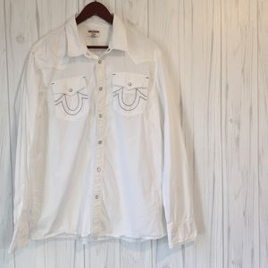XL Men's True Religion White Button Down Shirt